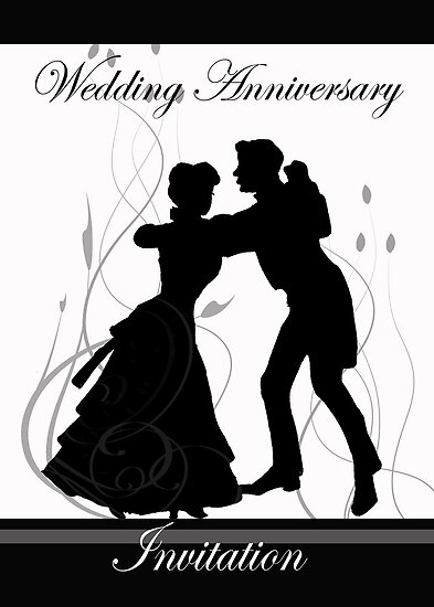 greeting cards for marriage anniversary. Greeting Cards. Wedding Anniversary Invitation Black And White Dancing