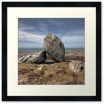 Large boulder in The Burren in county Clare near Black Head overlooking Fanore