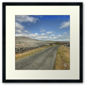 Scenic country road in The Burren National Park near Mullaghmore mountain in county Clare