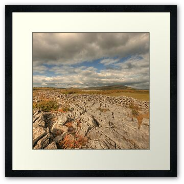 Evening view of Mullaghmore mountain in The Burren in county Clare
