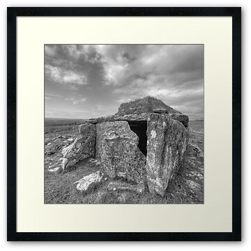 Black and white photos of the Parknabinna wedge tomb in The Burren in county Clare. The tomb dates to roughly 2500 B.C