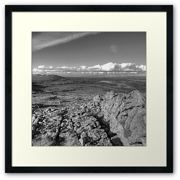 Black and white photo taken from near the summit of Mullaghmore mountain in The Burren National Park in county Clare