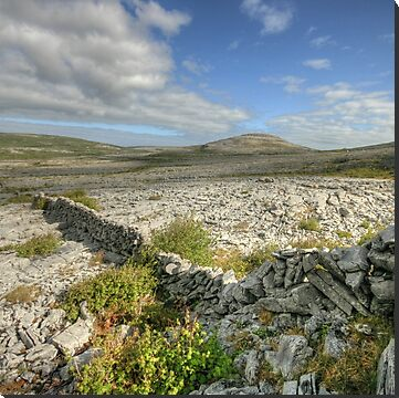 View towards Knockanes mountain from Mullaghmore mountain in The Burren National Park in county Clare