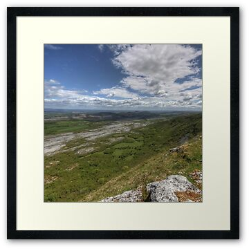 Summer view from Slieve Carran in The Burren in county Clare