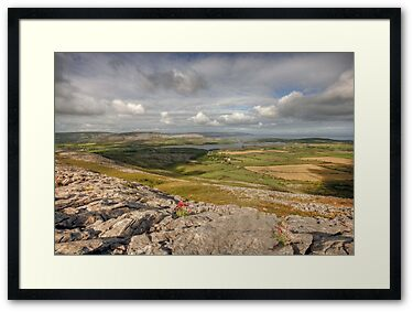 View from Corker Hill in The Burren near Ballyvaughan on a summers morning