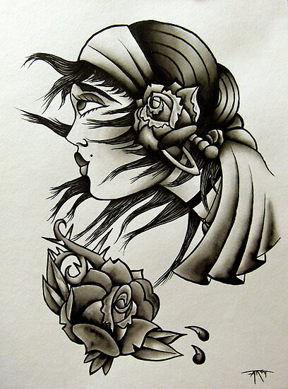 a watercolor of a simple traditional gypsy tattoo design. very simple with a