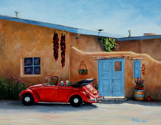 "Volkswagen Beetle Convertible Red. ""Cool Ride"" -Classic convertible red VW beetle ready for a ride. ""Cool RIde"" is an 11×14"" oil painting inspired by a view in Taos, New Mexico."
