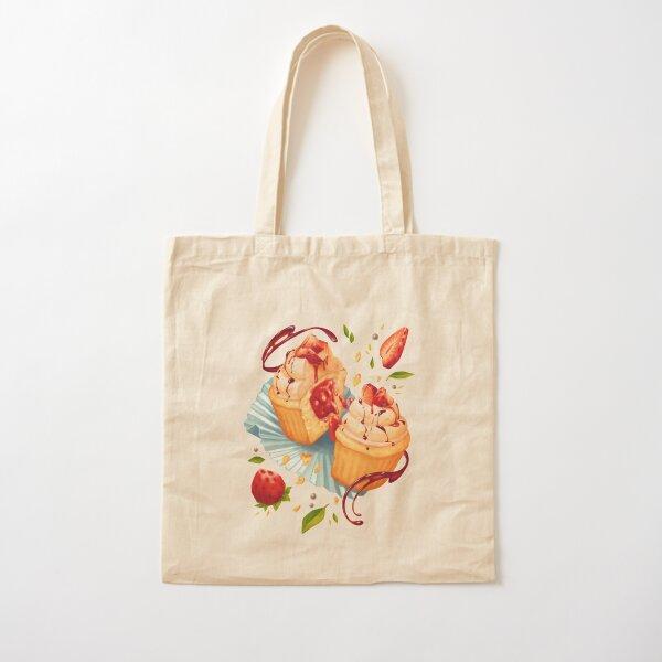 Strawberry Balsamic Cupcake Cotton Tote Bag
