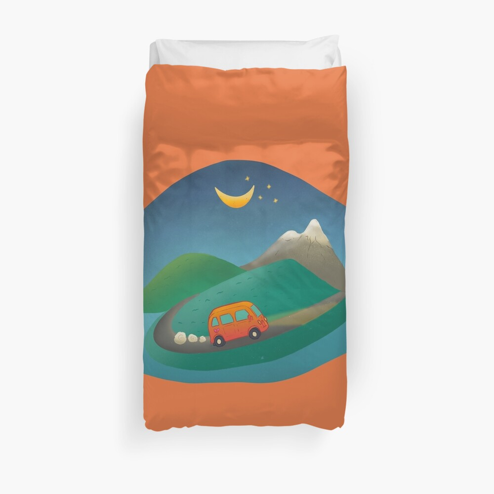 Driving in the mountains illustration Duvet Cover