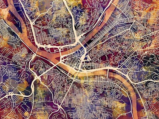 Pittsburgh Pennsylvania Straßenkarte von Michael Tompsett