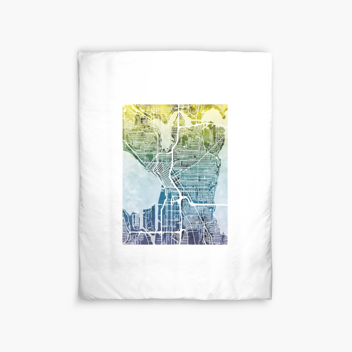 'Seattle Washington Street Map' Duvet Cover by Michael Tompsett