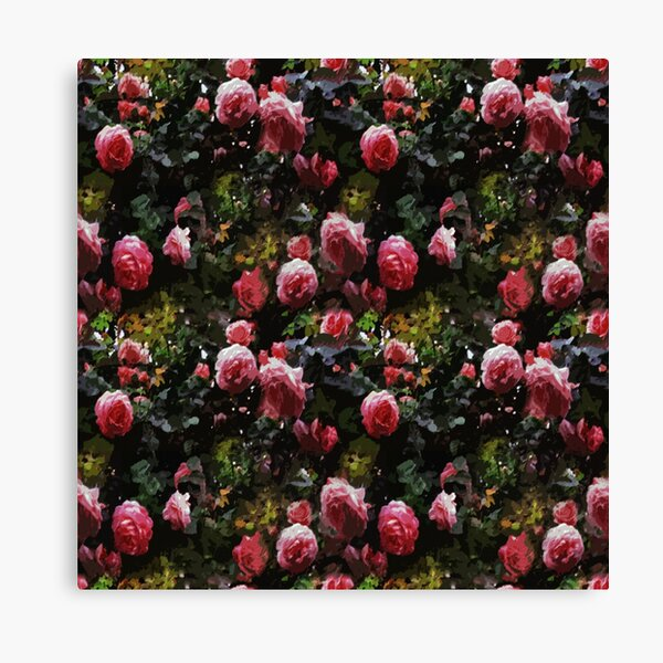 Dark Floral Rose Garden Canvas Print