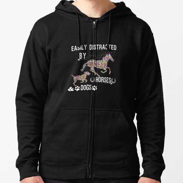 Easily Distracted By Dogs And Horses Shirts for Girls Zipped Hoodie