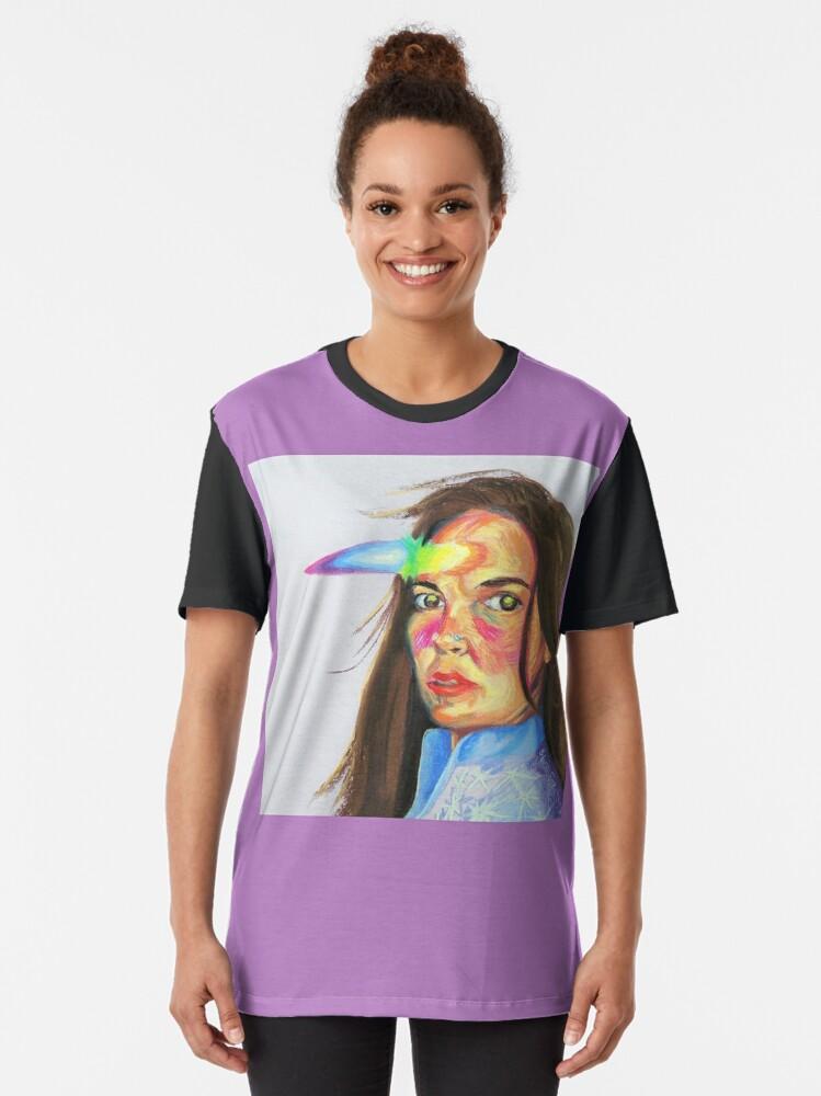 Alternate view of Prismatic Unicorn Self Portrait Graphic T-Shirt