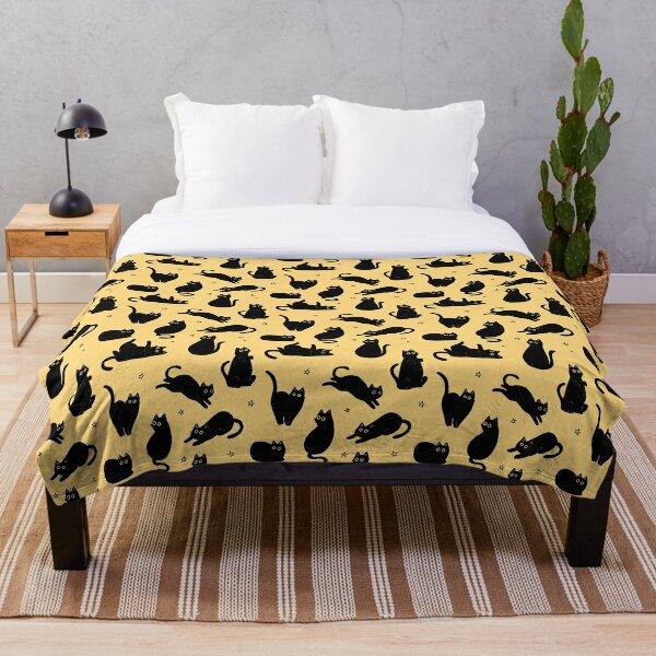 black cat pattern Throw Blanket