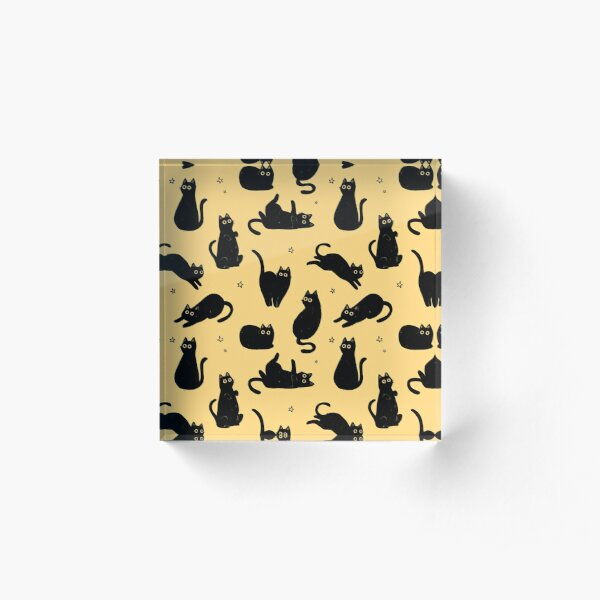 black cat pattern Acrylic Block