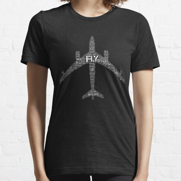 Aviation Lovers Word Cloud Jet Silhouette Essential T-Shirt