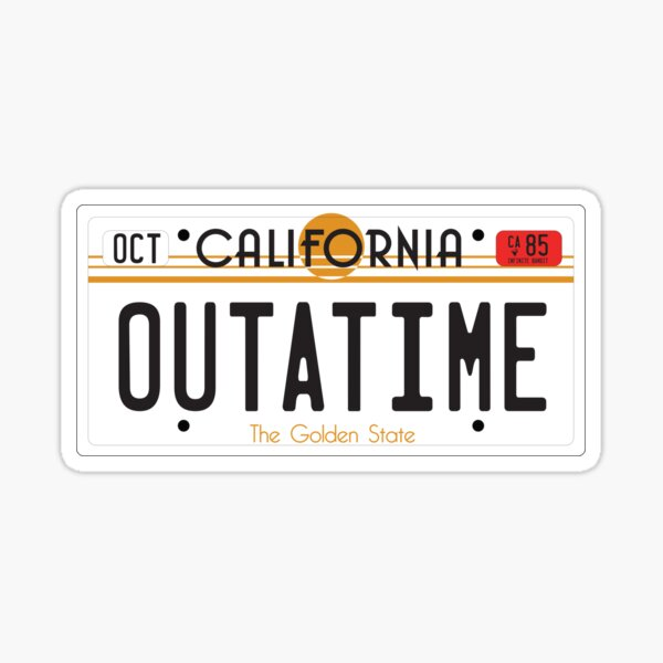 OUTATIME Back To The Future License Plate Sticker
