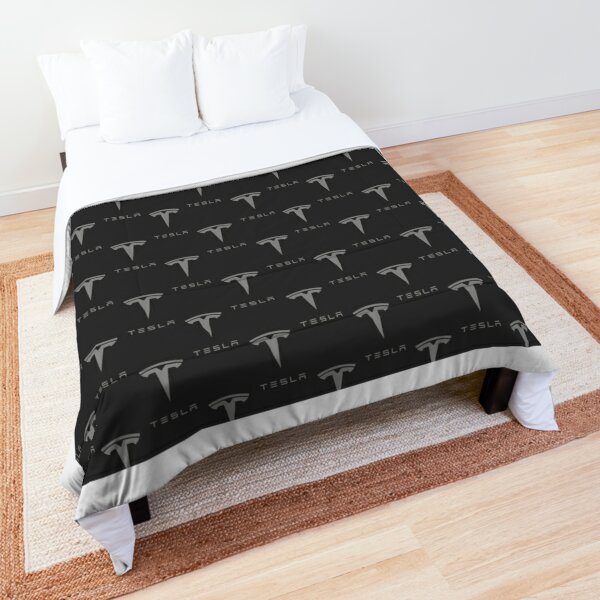 Tesla Logo (Repeating, Grey on Grey) Comforter