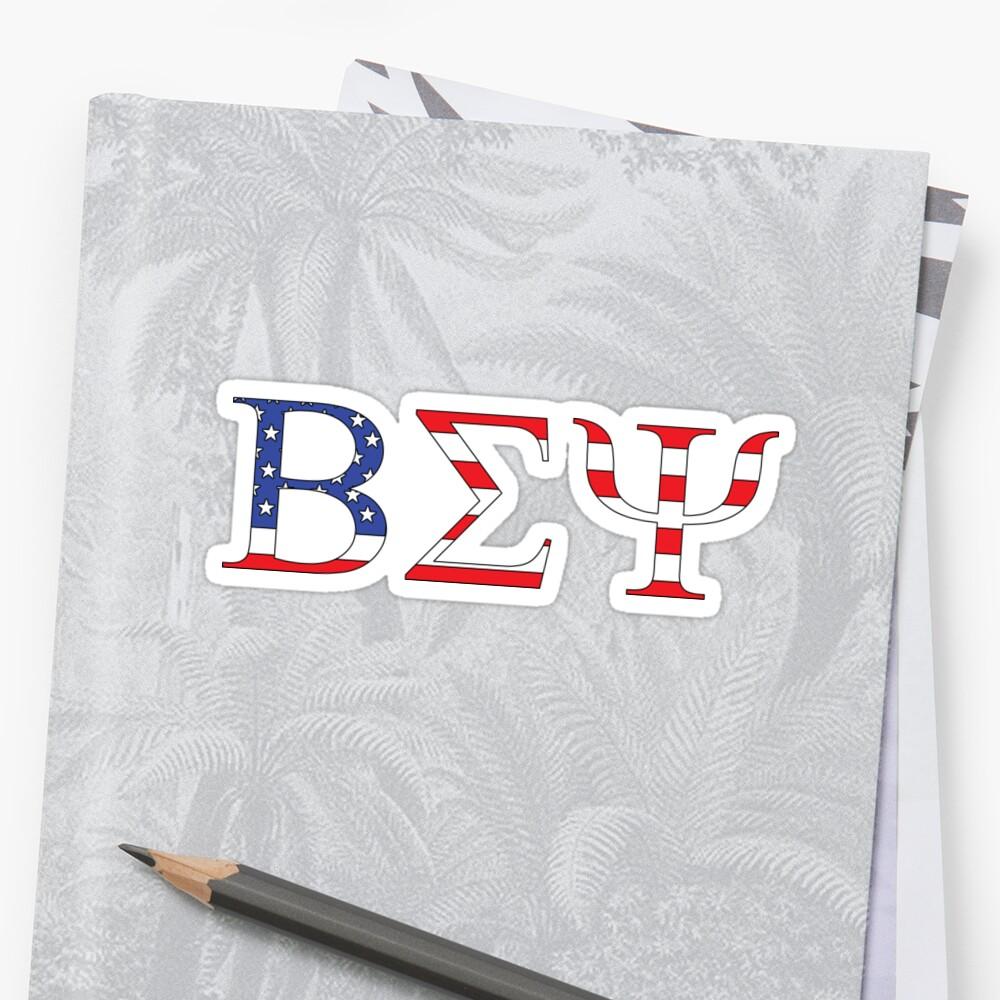 Beta Sigma Psi - American flag Sticker