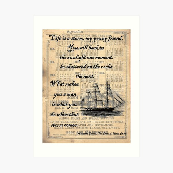 Count of Monte Cristo Storm Quote Art Print