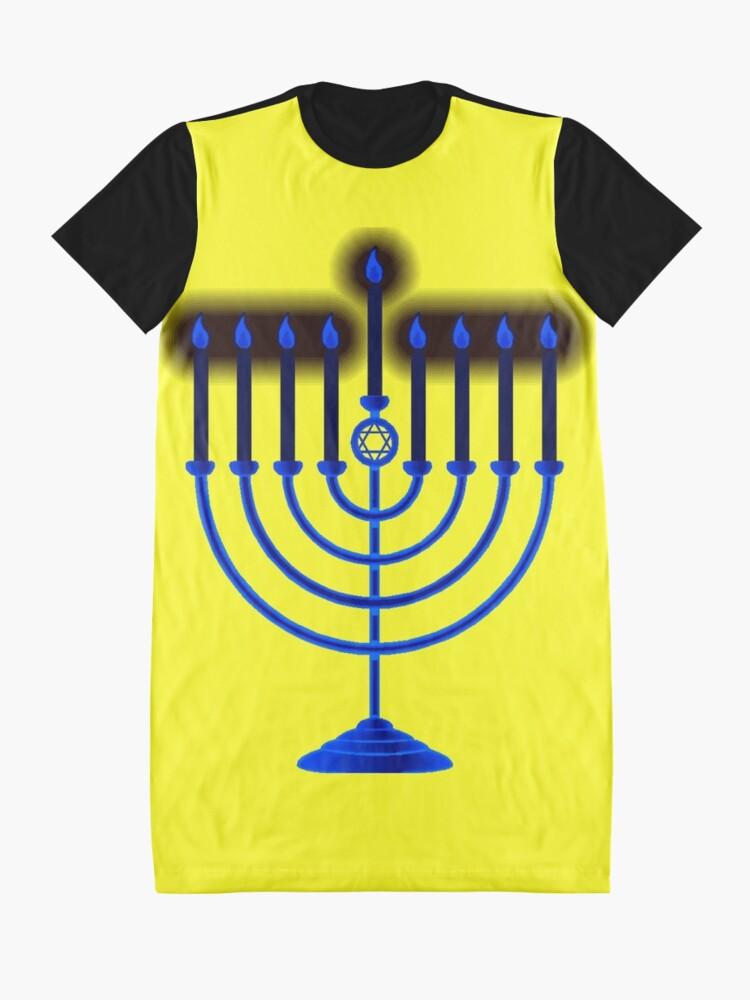Alternate view of #Hanukkah #menorah, #chanukiah, #hanukkiah, #מנורת חנוכה, #menorat, #ḥanukkah,  #menorot, #Hebrew Graphic T-Shirt Dress