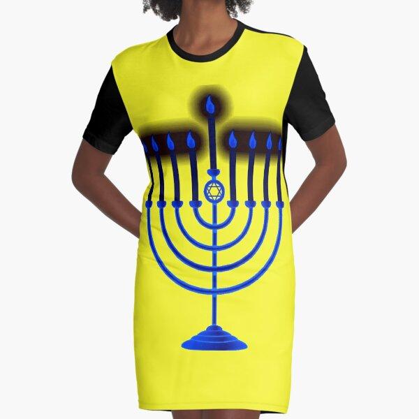 Jewish,  #Hanukkah #menorah, #chanukiah, #hanukkiah, #מנורת חנוכה, #menorat, #ḥanukkah, #menorot, #Hebrew Graphic T-Shirt Dress