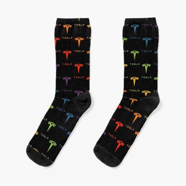 Tesla Logo (Repeating, Rainbow on Black) Socks