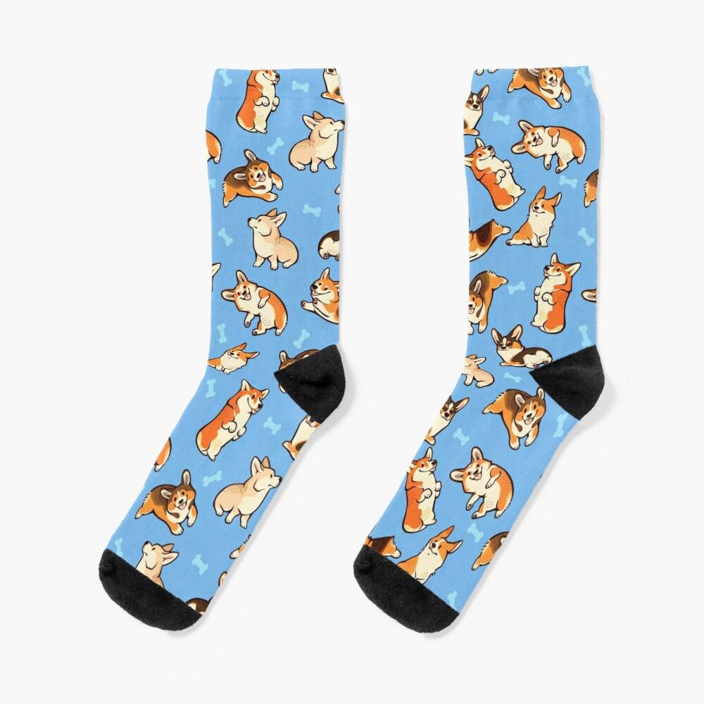 Jolly corgis in blue Socks