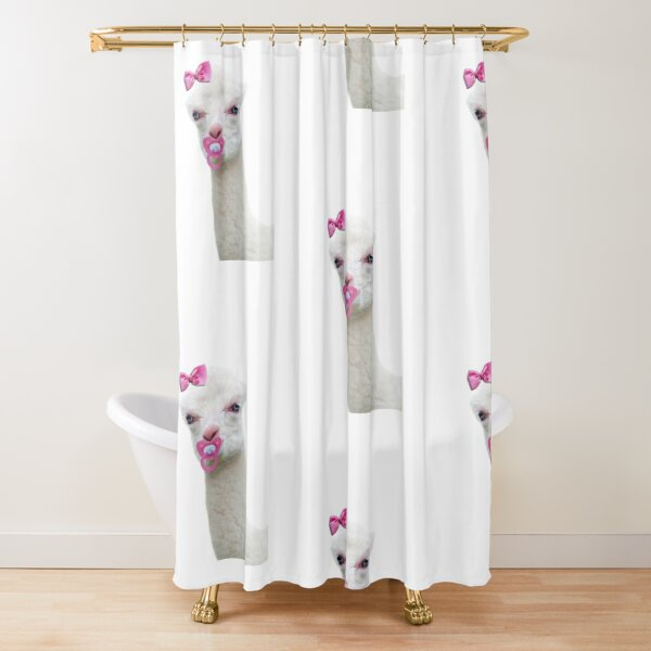 Baby Alpaca or Llama with pink pacifier Shower Curtain
