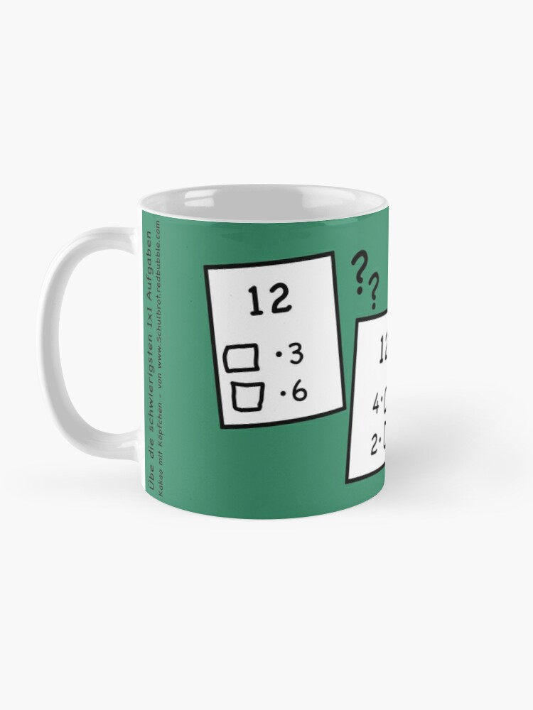 Alternate view of 1x1 number, today the 12 - cocoa with brains Mug