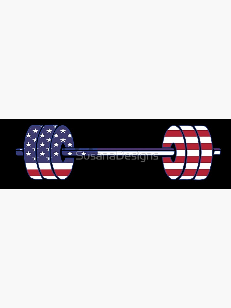 USA flag Barbell Powerlifting Weight Lifting form by SusanaDesigns