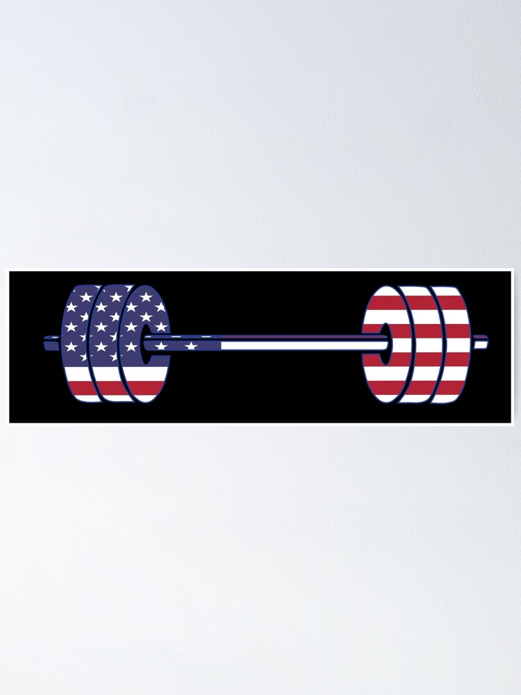 Alternate view of USA flag Barbell Powerlifting Weight Lifting form Poster
