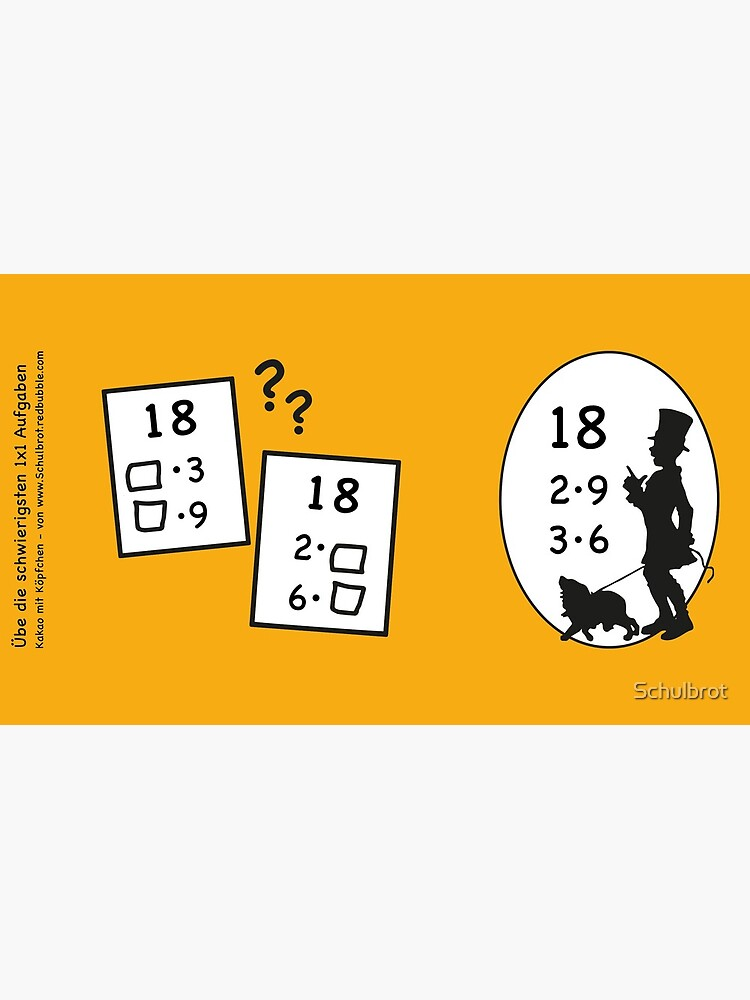 Difficult 1x1 tasks by the way, today the 18 - cocoa with brains - learning with fun by Schulbrot