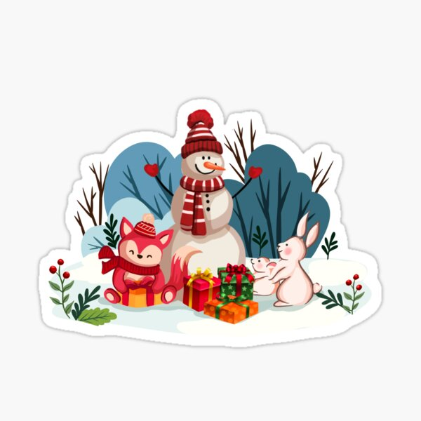 Christmas Snowman And His Furry Friends-White Christmas™ Sticker
