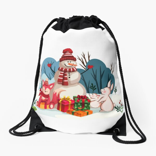 Christmas Snowman And His Furry Friends-White Christmas™ Drawstring Bag