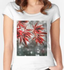 Japanese Red Maple Leaves  Women's Fitted Scoop T-Shirt