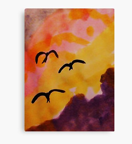 Birds coming in for a landing at sunset, watercolor Canvas Print