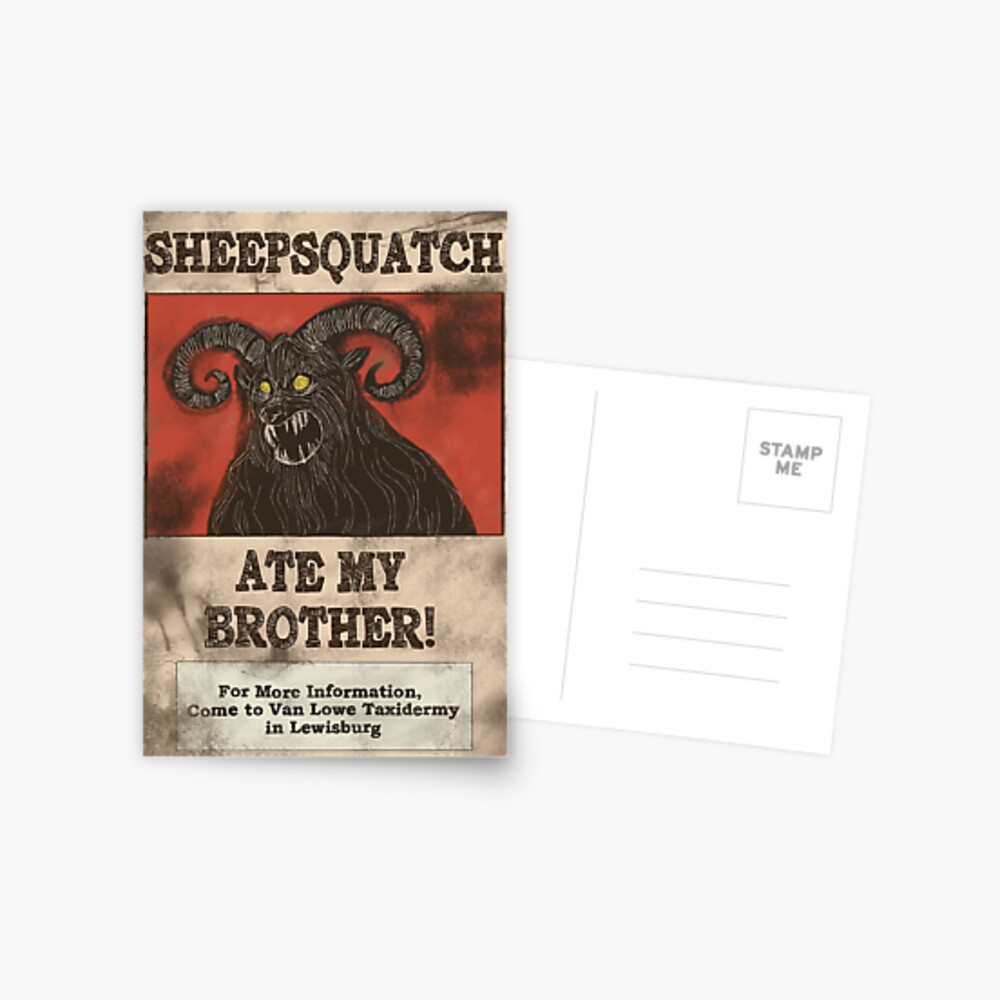 Sheepsquatch Ate My Brother Postcard By Hapansade Redbubble