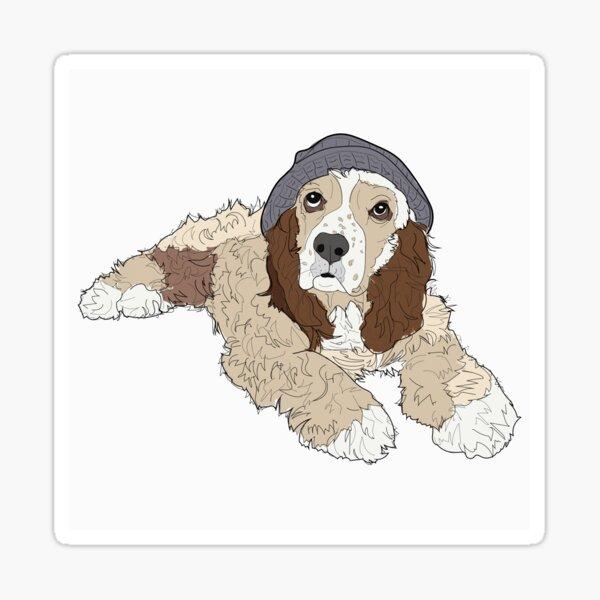 Cocker Spaniel Hipster Dog  Sticker