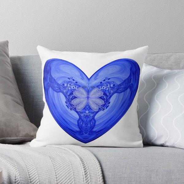 360a Offspring-Blue Heart and Butterfly Throw Pillow