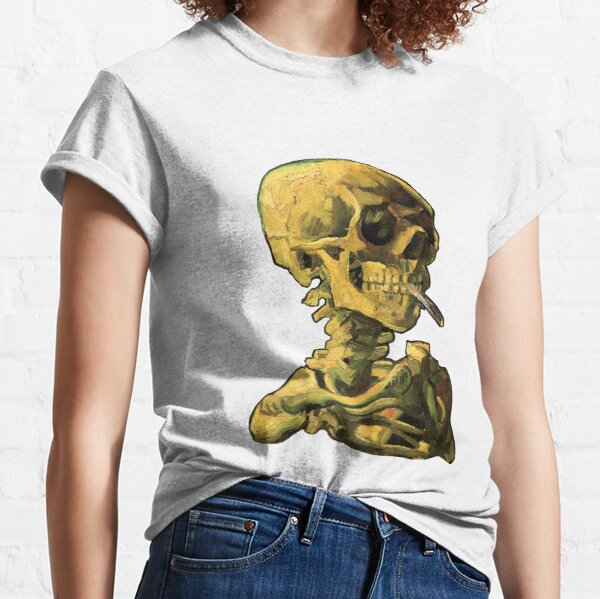 """Vincent Van Gogh - """"Skull of a Skeleton with Burning Cigarette"""" Classic T-Shirt"""
