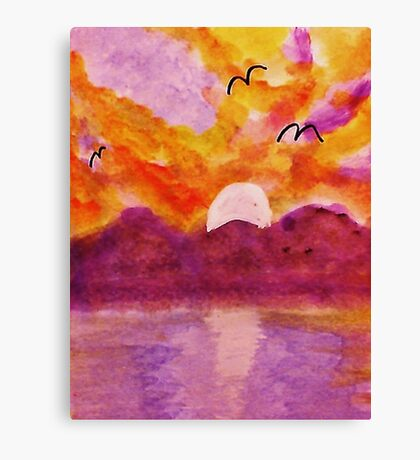 Sunset over west Coast, watercolor Canvas Print