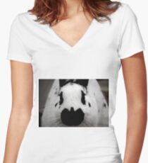 Black And White Bunny Women's Fitted V-Neck T-Shirt