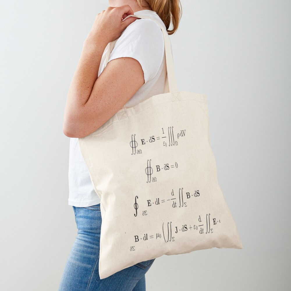 Maxwell's equations, #Maxwells, #equations, #MaxwellsEquations, Maxwell, equation, MaxwellEquations, #Physics, Electricity, Electrodynamics, Electromagnetism Tote Bag