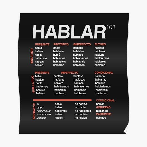 Poster Apprendre L Espagnol Verbes Reguliers Par Linguaposta Redbubble