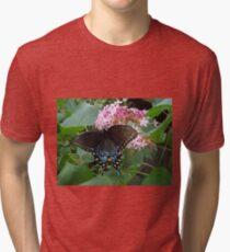 Black Eastern Swallowtail - Summer's End Tri-blend T-Shirt