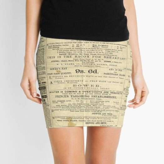 Old Newspapers, The Derby Gazette Mini Skirt