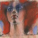 mixed media redhead by djones