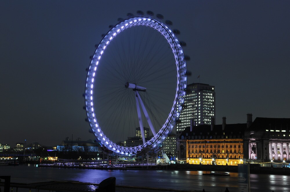 London Eye at Night by Dhruba Tamuli